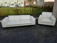 Cream leather sofa & arm chair