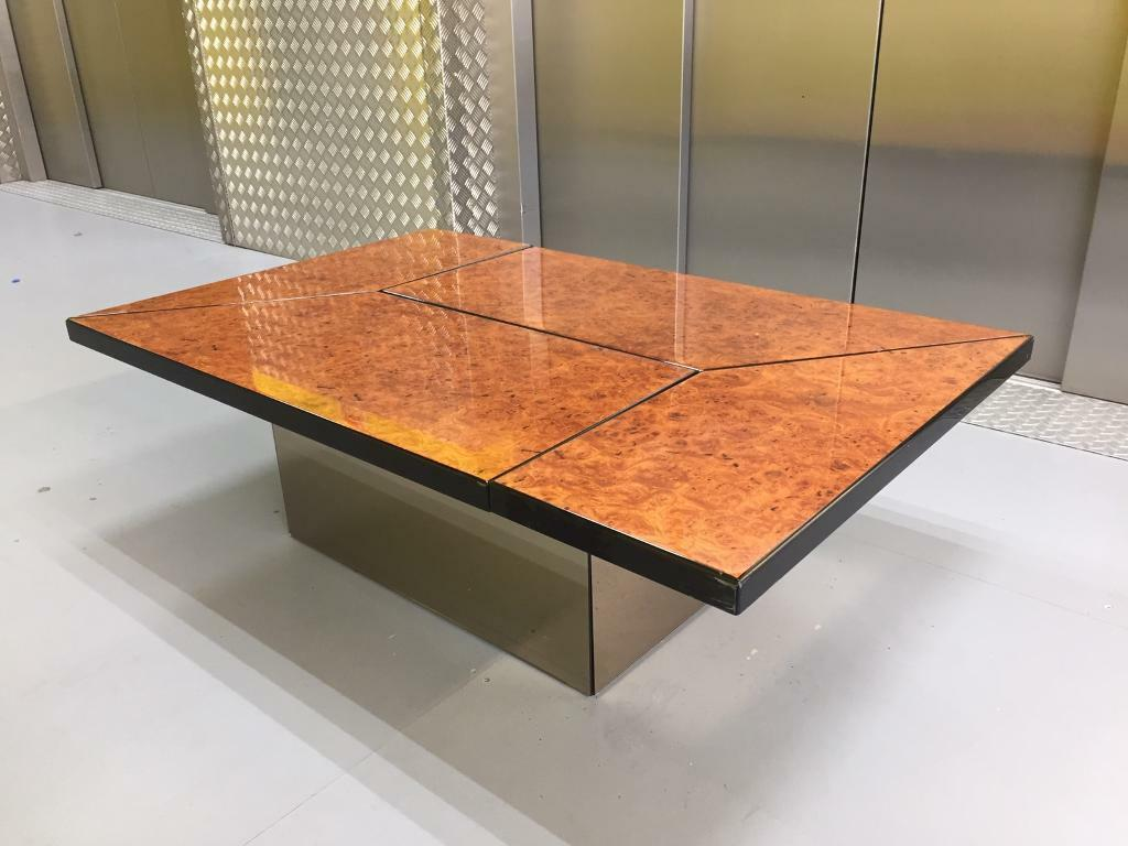 Mid century french lacquered burl wood coffee table by paul michel 1970s price reduced quick