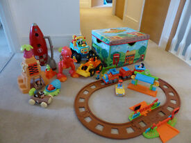 ELC Happyland bundle – Train set, Rocket set, Caveman and Dinosaur set, Monster Truck, Digger & box