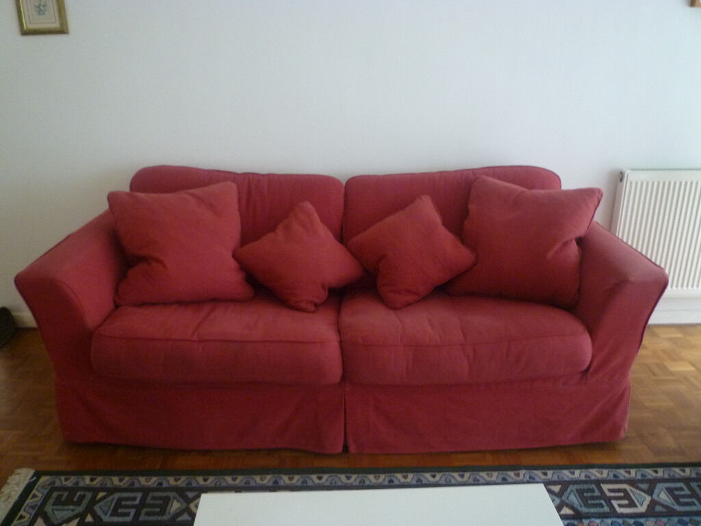 Sofa Bed from Sofa Workshopred fabricin Ealing Broadway, LondonGumtree - Sofa Workshop large Sofa Bed H87cm x W205 x D94cm. Very confortable sofa which can be turned into a double bed. Very strong frame. Red cotton cover. I sold my flat and moving into a fully furnished property therefore no need for this items. The...
