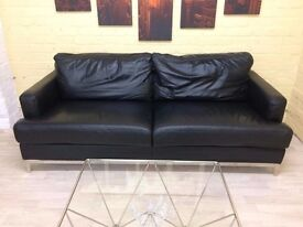 Black Leather 3 Seater