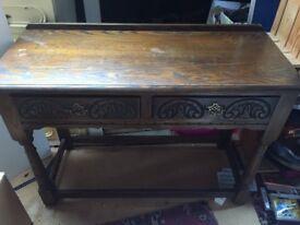 Walnut wood consol table