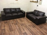 Dark brown leather 3+2 sofas (free delivery)