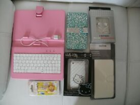 Various Job Lot of New Phone Cases and Covers Keyboard and Earphones