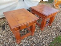 SOLID HEAVY WOOD SIDE TABLES FOR BEDSIDE CONSERVATORY OR LOUNGE
