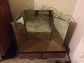 Beautiful old triple mirror