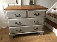 Solid pine chest of drawers French grey excellent condition newly refurbished