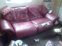 2 FREE RED LEATHER SOFAS 2 SEATER AND 3 SEATER. COMFY. FREE