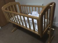 John Lewis Swinging Crib - good condition with mattress and 3 fitted sheets