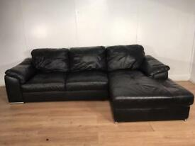 Black leather corner sofa with free delivery within 10 miles