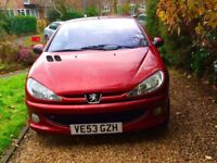LOVELY RED PEUGEOT 206 COUPE CABRIOLET 1.6 ALLURE CONVERTIBLE - 2 DOOR - MILEAGE 49,600 FULL M.O.T