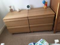2 x Bed side tables/chest of draws