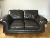 2 x brown leather sofa's