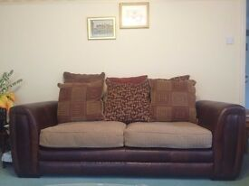 TWO Large LEATHER sofas - hardly used, excellent condition