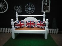 SOLID PINE FARMHOUSE EXTRA LARGE GARDEN BENCH PAINTED WITH OUTDOOR PAINT WHITE COLOUR