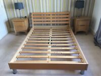 Scandinavian double bed with silver legs and slatted base