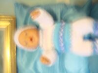 new hand knitted boy or girl dolls clothes to fit baby born