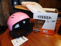 New Unused Sinner Ladies Pink Ski Helmet - size medium in original box with protective cover