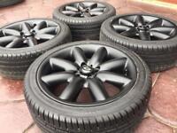 "Genuine 17"" BMW Mini Cooper S 8 Spoke Crown JCW Refurbished Alloy wheel & tyres - Matt Black"