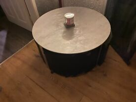 Free Glass coffee table with small stools
