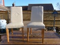 8 x Cream Leather & Light Oak Veneer Wood Dining Chairs (Jessica)