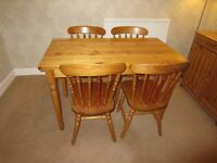 Solid pine dining table + 4 chairs - Studio One Pine + Ikea pine finish sideboard