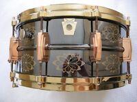"Ludwig LN417EN seamless brass hand engraved Black Beauty snare drum 14 x 6 1/2"" - '91 -#008"