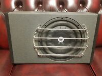 CAR SUBWOOFER SHALLOW MOUNT BALLISTIC AUDIO 400 RMS WITH SLIM ENCLOSURE AND GRILL