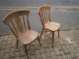 2 farmhouse type kitchen chairs beech?