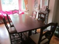 Solid Wood Dining Table very heavy and chairs with fire certificates