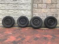 Four tyres (good condition) + 4 original wheel caps