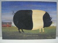 The Black And White Pig - Art Pig Print Mounted On Board by M.R. Wiscombe
