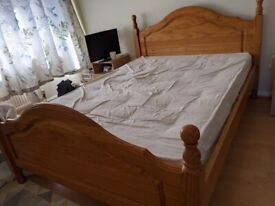 Double wooden Bed Frame with Headboard and mattress