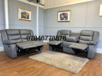 Grey or black leather recliner sofa available