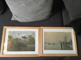 Two Wood Frames with Monet Prints Like New