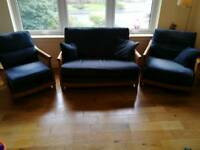 Ercol sofa and two single chairs