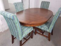 Ex Display Mark Webster Designs Dark Oak Solid Wood Extending Dining Table and Chairs