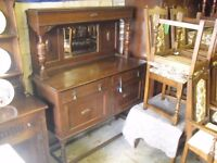 Great 20's Era Oak Barley Twist Jacobean Style Sideboard