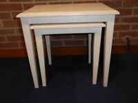 Shabby chic set of 2 'old white' wooden coffee tables (stacking)