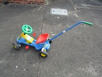 Small child bike with walking pole