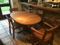 German made solid pine table and chairs