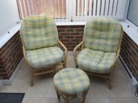 Cane Furniture Set (2 chairs plus a footstool)