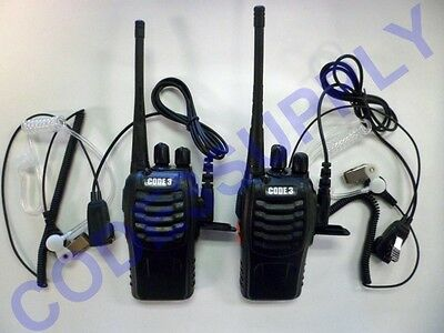 2 X Radio Communication Security Staff Uhf Radios Air Tube Headset Package Lot