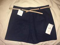 Zara navy woman's shorts with beige belt