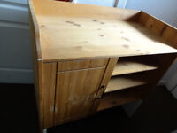 Solid pine chest of drawers, door to one side