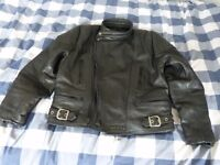 sportex black leather motor cycle jacket size 44