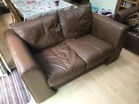 Brown Leather 2 Seater Couch (sofa)