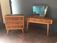 1950's dresser table & chest of drawers
