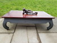 Large 120 x 70cm rustic boho opium style coffee table. DARK SLATE shabby chic. LOCAL DELIVERY.