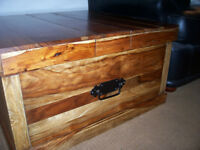 Solid oak storage coffee / occasional table
